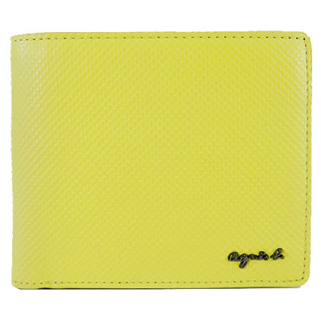 agnes b. VOYAGE 金屬LOGO壓紋短夾(檸檬黃)