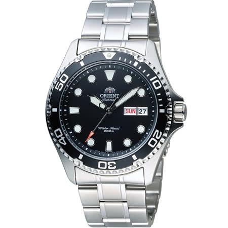 ORIENT 東方錶 WATER RESISTANT系列 200m潛水機械錶 FAA02004B 黑