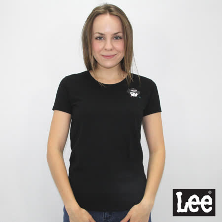 Lee 短袖T恤 前口袋Buddy Lee 圖案印刷-女款-黑