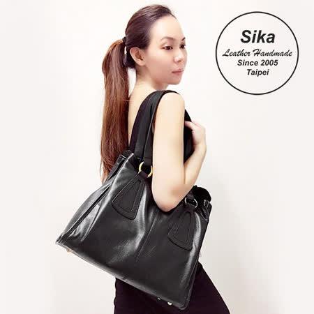 Sika義大利時尚牛皮古典高雅兩用手提包L6092-03質感黑