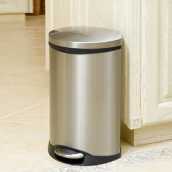 EKO愛麗靜音緩降垃圾桶6L-砂鋼