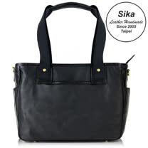 Sika義大利時尚荔枝紋簡約兩用手提包L6084-03質感黑