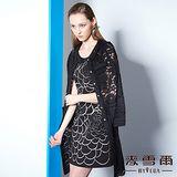 【麥雪爾】黑白立體繡花無袖洋裝