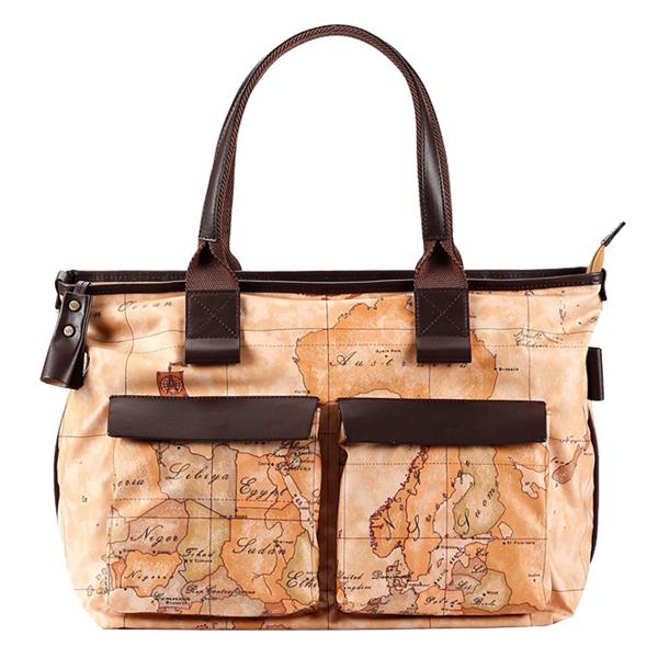 Alviero Martini 義大利地圖包 雙口袋PU手提肩背包^(大^)~地圖黃深咖啡