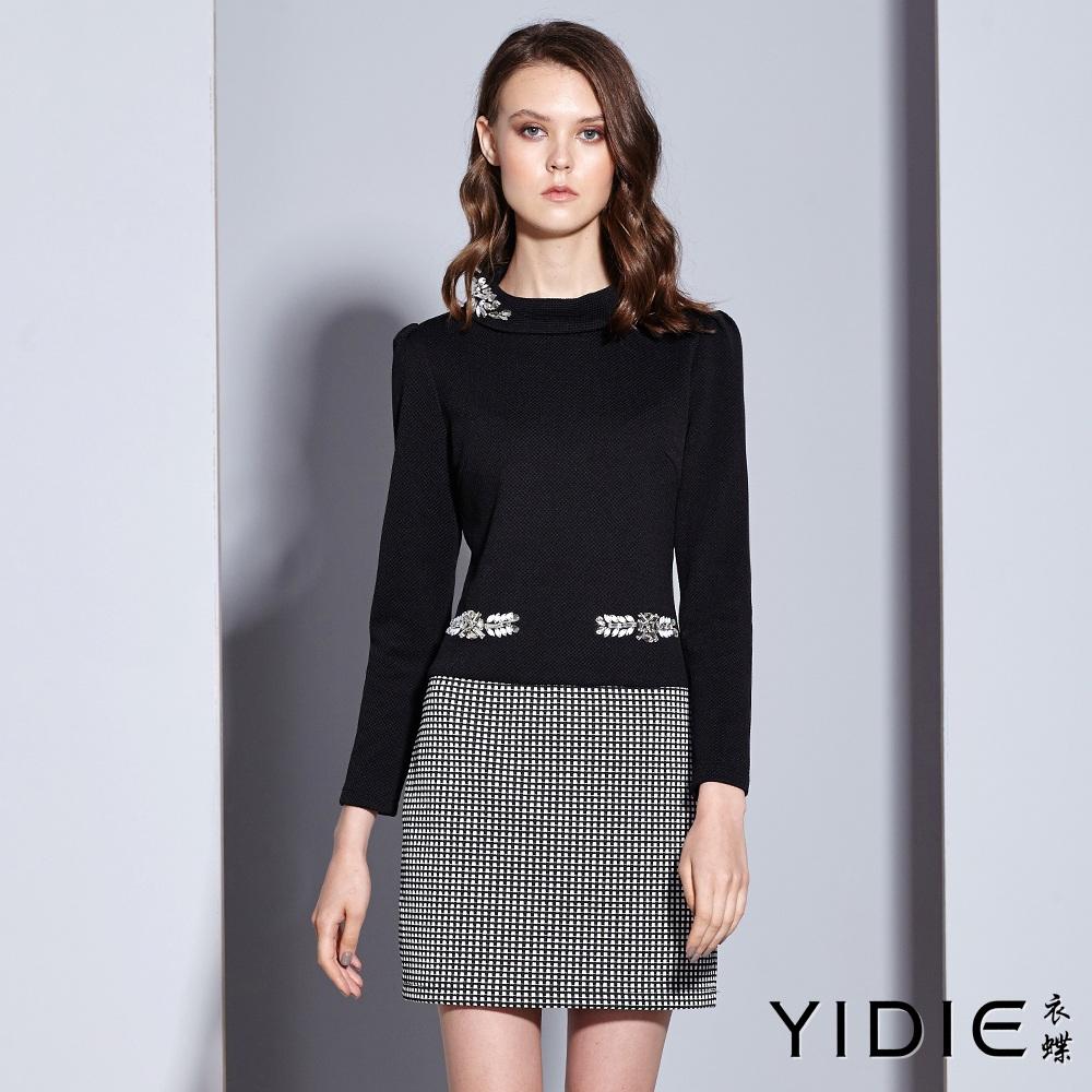 ~YIDIE 衣蝶~金鑽飾黑白格反折領短洋裝