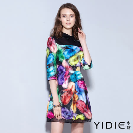 【YIDIE 衣蝶】華麗顯色印花領片七分袖短洋裝