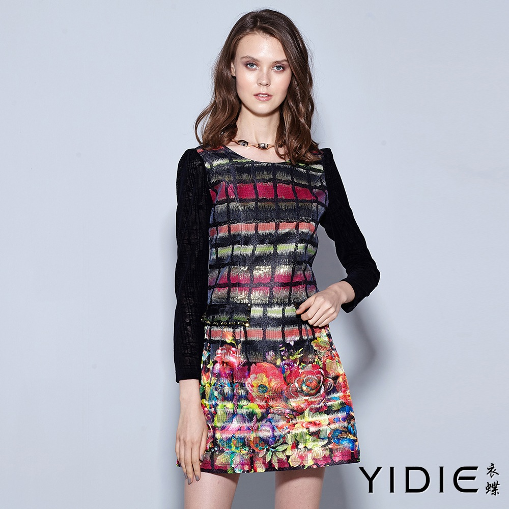 ~YIDIE 衣蝶~宮庭風彩花金蔥鏤空袖短洋裝
