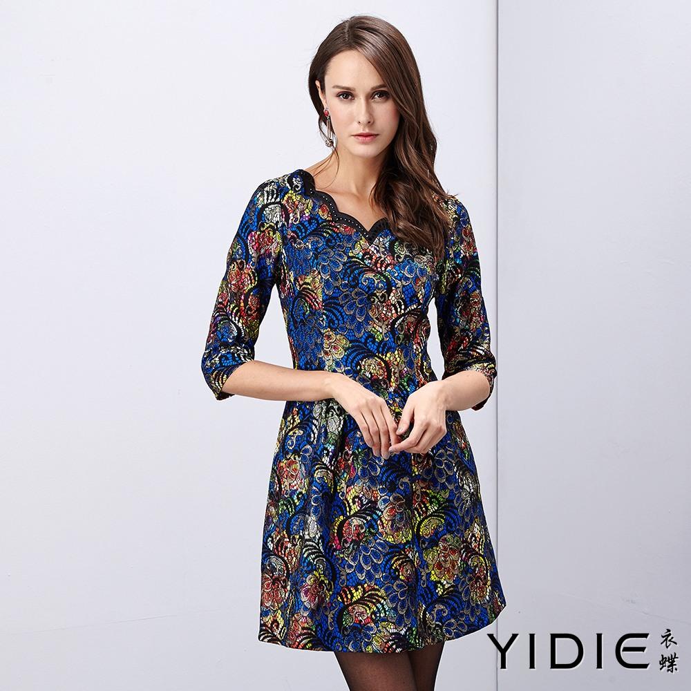 ~YIDIE 衣蝶~花辦領亮彩古典洋裝