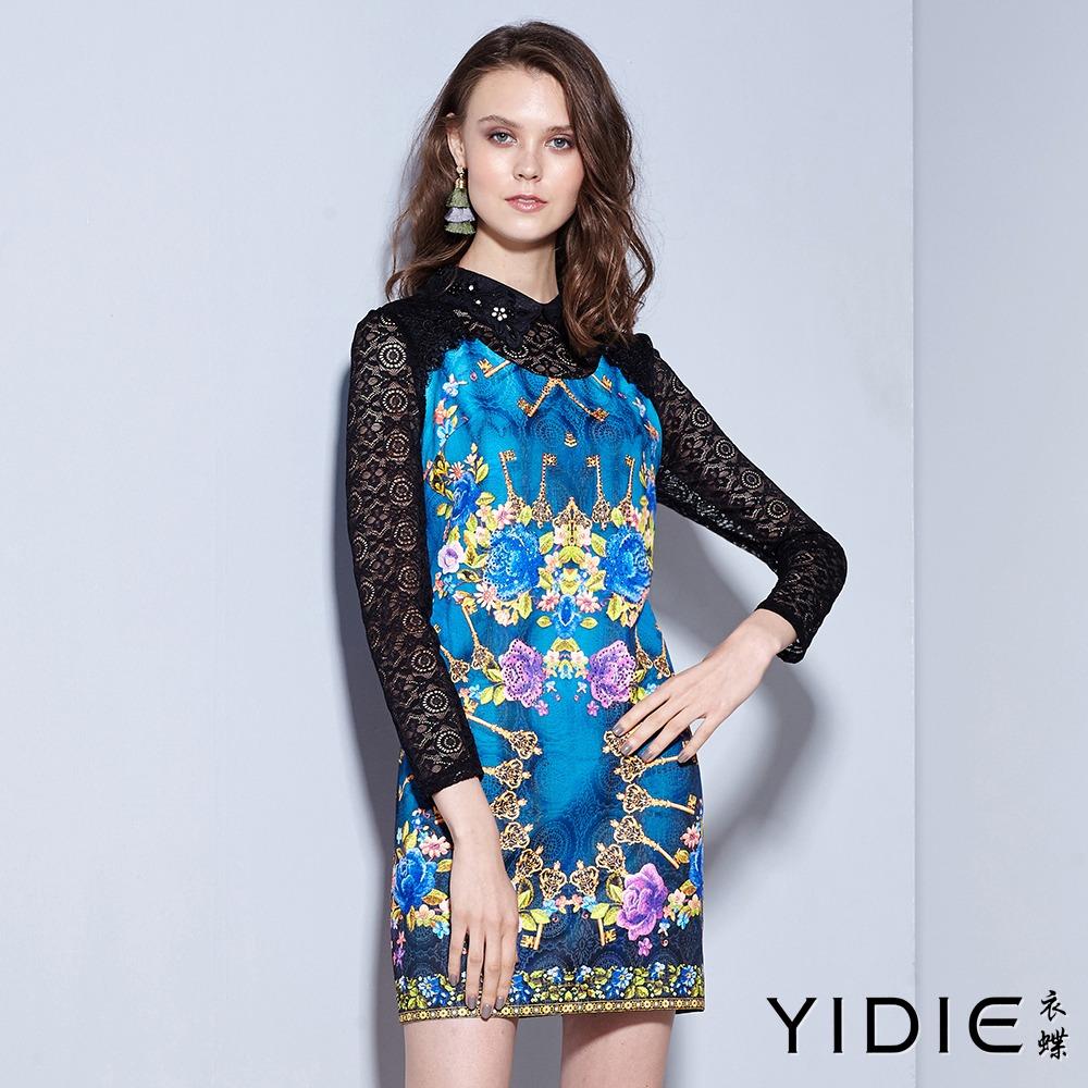 ~YIDIE 衣蝶~細巧鑽領滿版印花後拉練蕾絲袖短洋裝