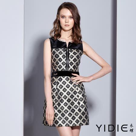 【YIDIE 衣蝶】水鑽格紋拉練棉質無袖短洋裝