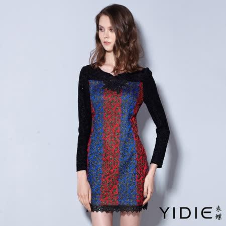 【YIDIE 衣蝶】亮片花朵鑲蔥滿版後拉練短洋裝