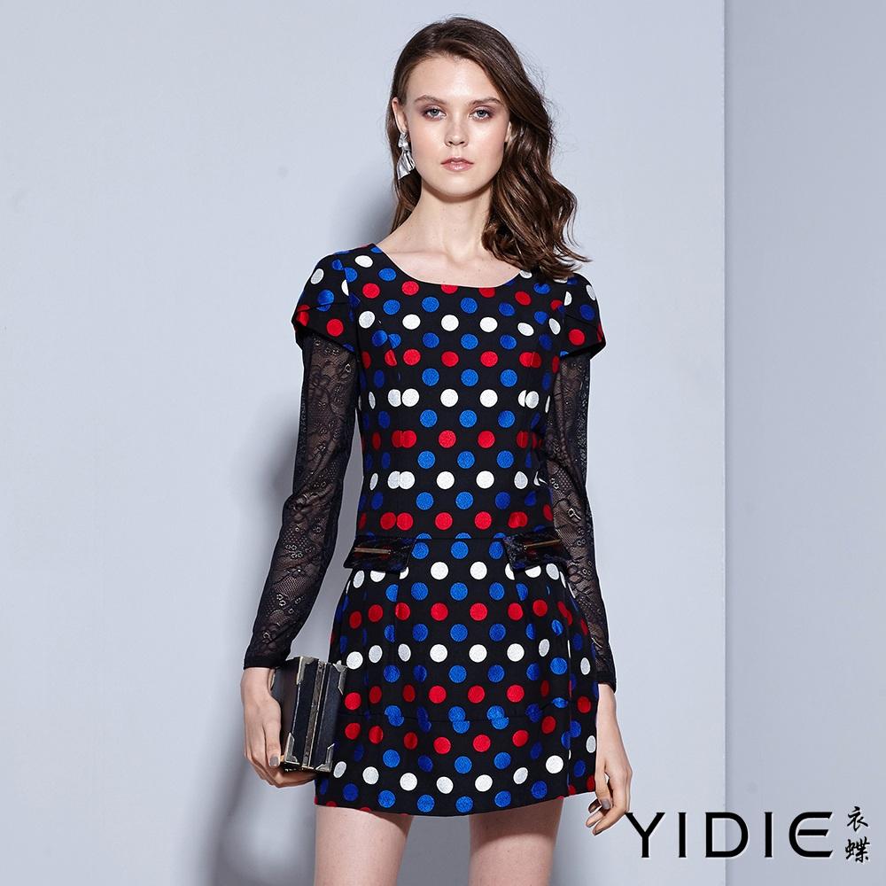 ~YIDIE 衣蝶~圓點滿版壓摺口袋飾短洋裝