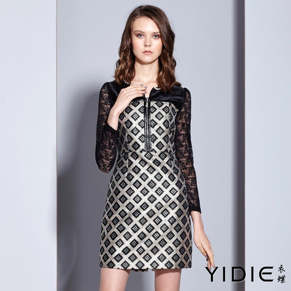 ~YIDIE 衣蝶~高雅水鑽領銀蔥格紋拉練鏤空蕾絲袖短洋裝