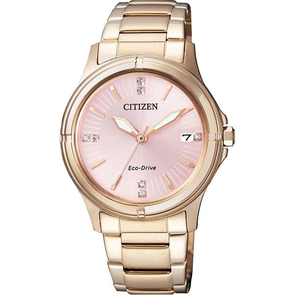 CITIZEN Eco~Drive 光動能優雅晶鑽女錶~粉橘x玫瑰金33mm FE6053