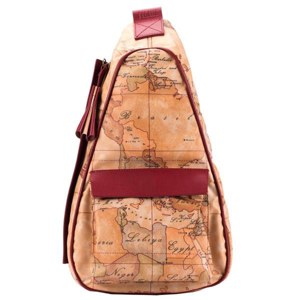 Alviero Martini 義大利地圖包 休閒隨身斜背包^(小^)~地圖黃櫻桃紅
