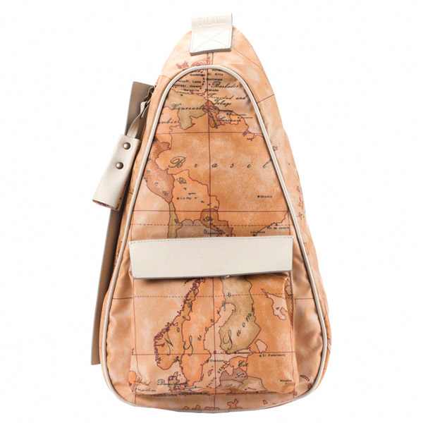 Alviero Martini 義大利地圖包 休閒隨身斜背包^(小^)~地圖黃米白