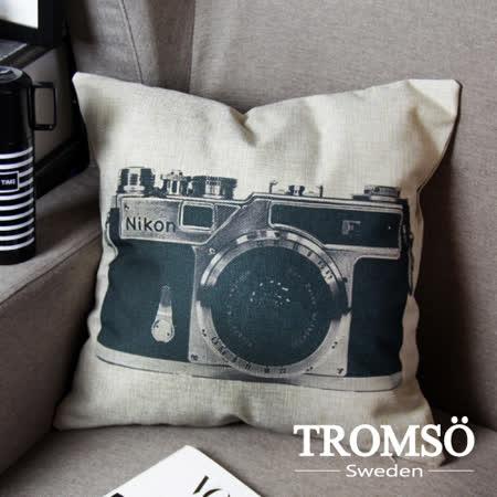 TROMSO-品味英倫棉麻抱枕/復古單眼
