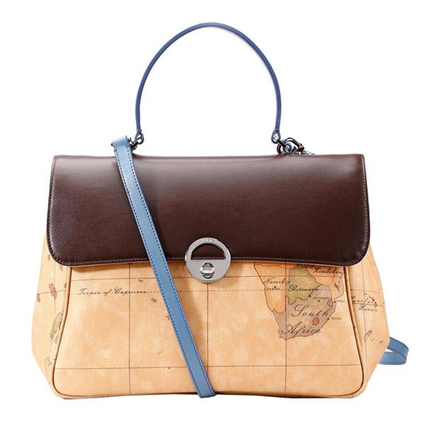 Alviero Martini 義大利地圖包 拼色牛皮手提側背兩用包^(大^)~地圖黃咖啡