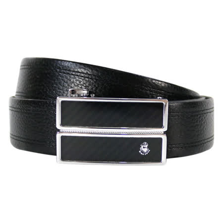 【SINA COVA】老船長格紋黑閃耀自動扣牛皮紳士皮帶SC11605-1黑