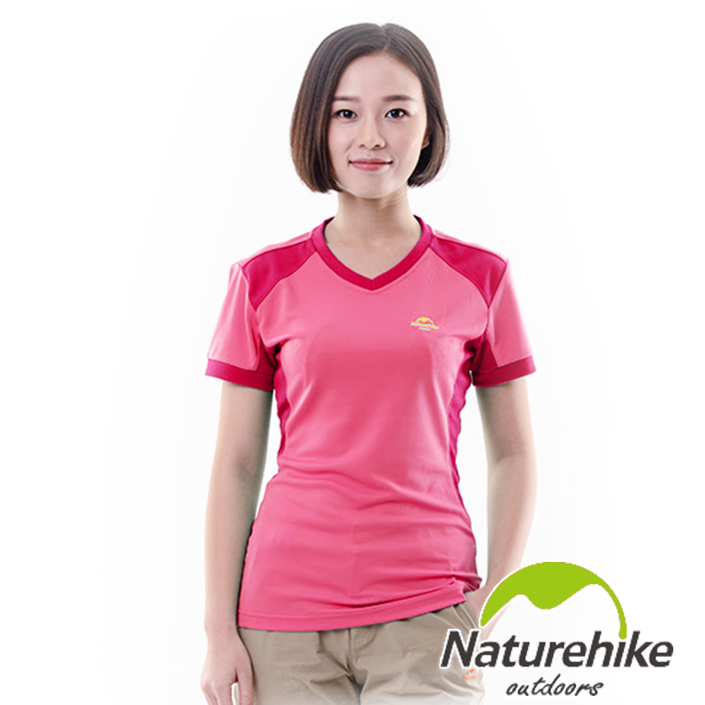 Naturehike 速乾排汗V領短袖機能服 女款 (霓霞紅)