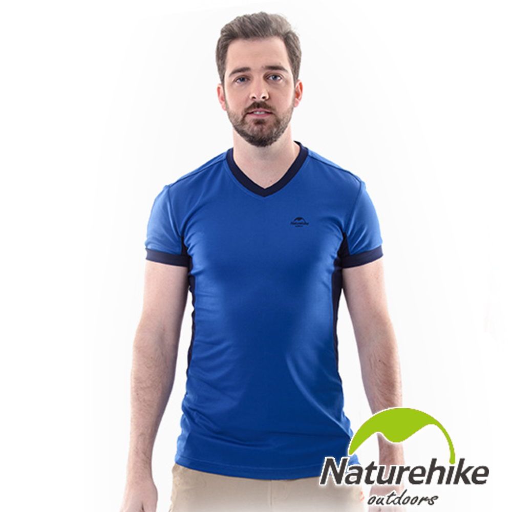 Naturehike 速乾排汗V領短袖機能服 男款 (深海藍)