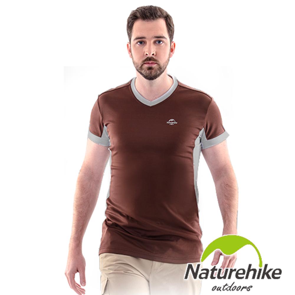Naturehike 速乾排汗V領短袖機能服 男款 (巧克力棕)