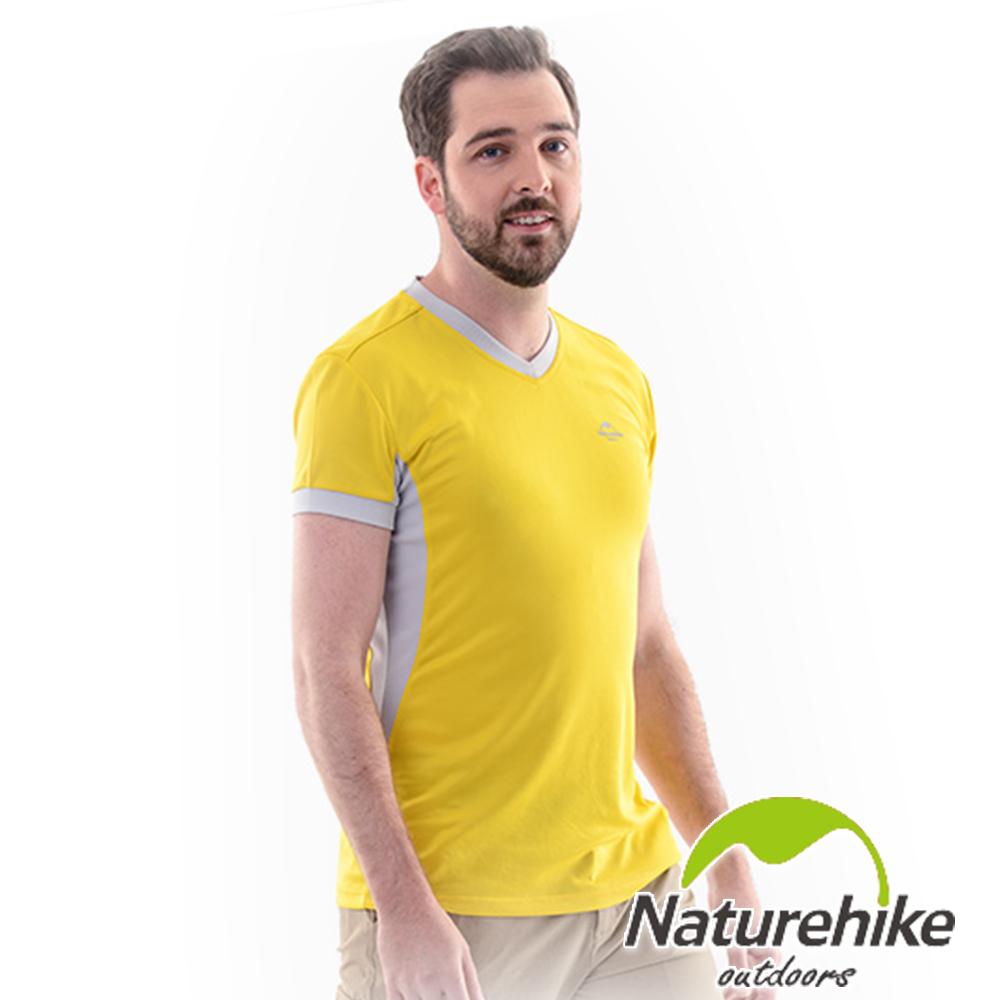 Naturehike 速乾排汗V領短袖機能服 男款 (檸檬黃)
