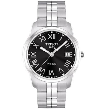 TISSOT 天梭 PR100 經典羅馬石英不鏽鋼腕錶-黑/39mm/T0494101105301