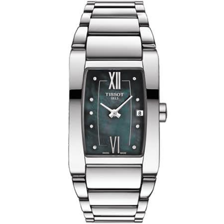 TISSOT 天梭 都會佳人真鑽優雅女錶-珍珠貝黑/24mm/T1053091112600