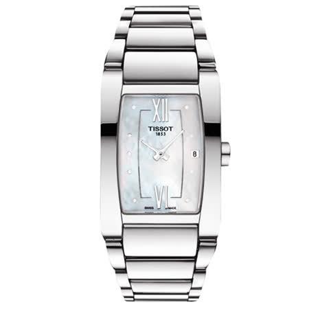 TISSOT 天梭 GENEROSI-T 柔美奢華真鑽女用腕錶-珍珠貝x銀/24mm/T1053091111600
