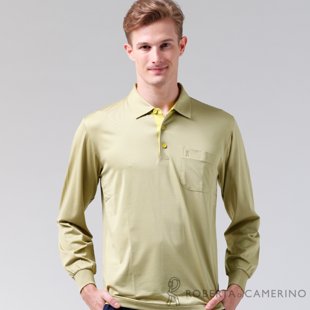 ROBERTA諾貝達 製 抗UV 吸溼速乾 長袖POLO棉衫 淺綠