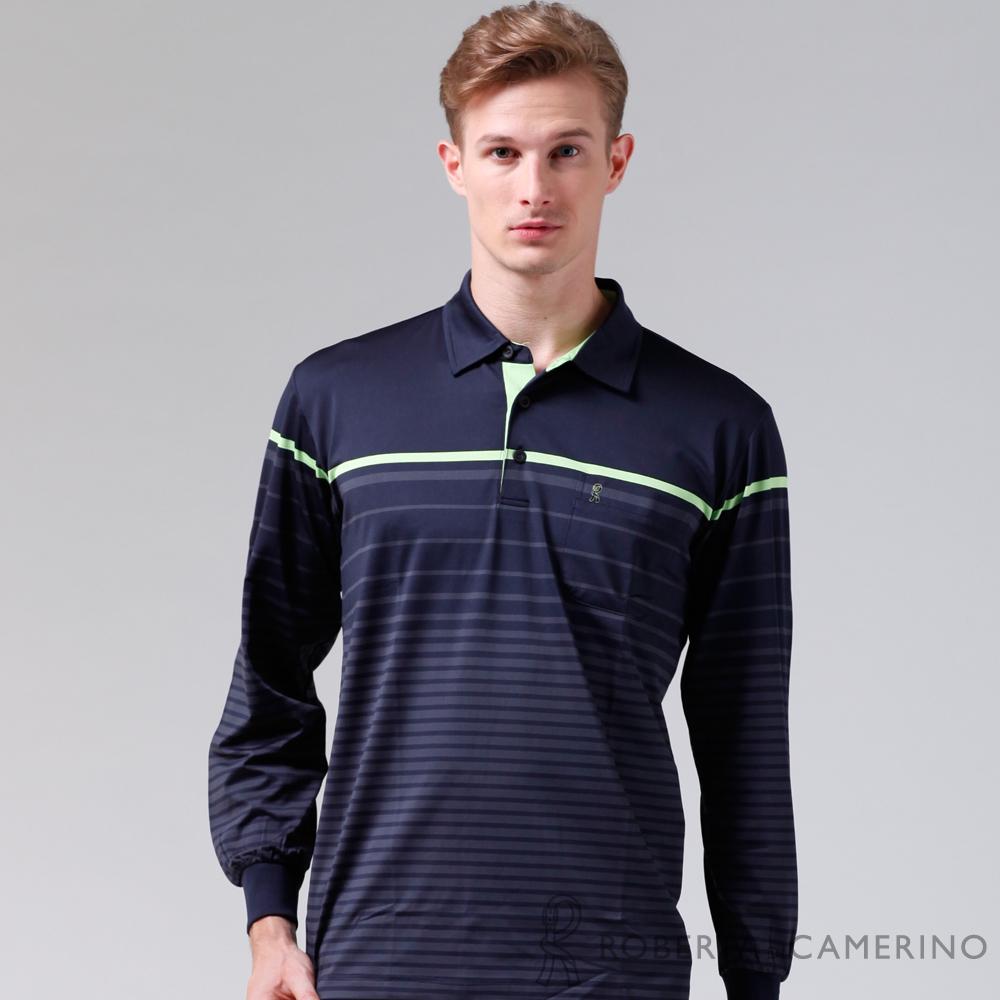 ROBERTA諾貝達 製 抗UV 吸溼透氣 長袖POLO棉衫 深藍
