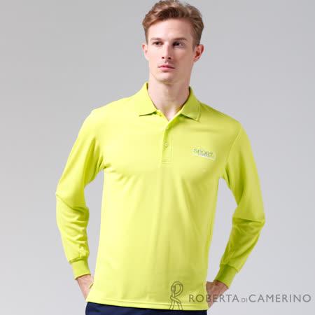 ROBERTA諾貝達 台灣製 吸汗速乾 時尚休閒長袖POLO棉衫 淺綠
