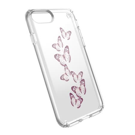 Speck Presidio Clear + Print iPhone 7 粉色彩蝶透明防摔保護殼