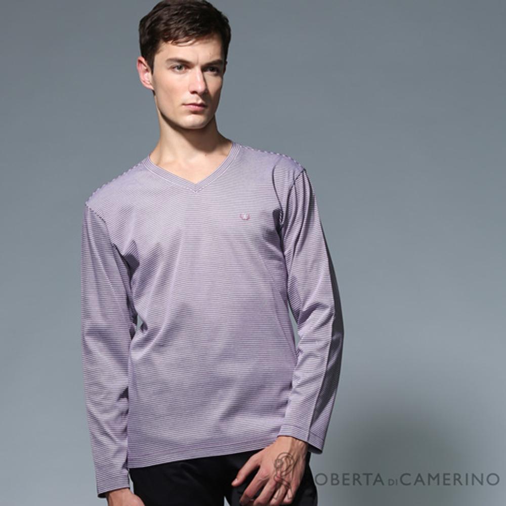 ROBERTA諾貝達 純棉 製 V領條紋長袖POLO棉衫 紫色