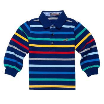 『小鱷魚童裝』藍底多彩橫條POLO衫(02號~10號)366103