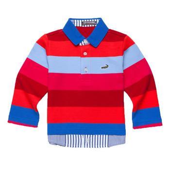 『小鱷魚童裝』男童橫條亮色POLO衫(02號~10號)366102