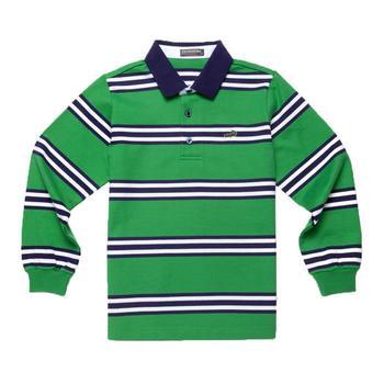 『小鱷魚童裝』綠色休閒橫條POLO衫(08號~10號)336101