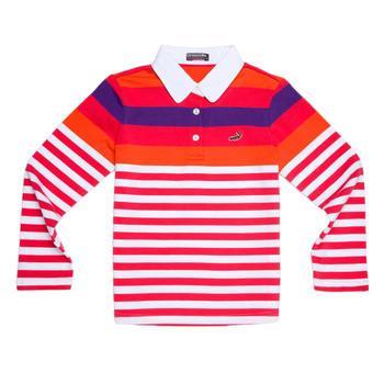 『小鱷魚童裝』桃橘條紋POLO衫(10號~10號)336151