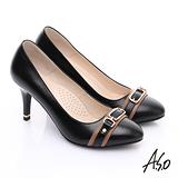 【A.S.O】優雅時尚 全真皮經典金屬飾扣高跟鞋(黑)
