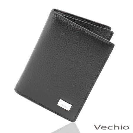 VECHIO 素面壓紋名片夾(黑色)VE026W08BK