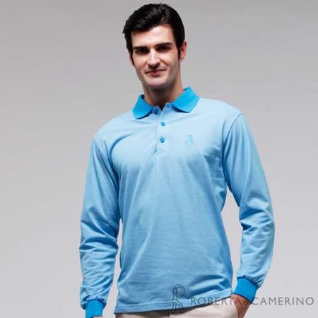 ROBERTA諾貝達 台灣製 修身版 長袖POLO棉衫 藍色