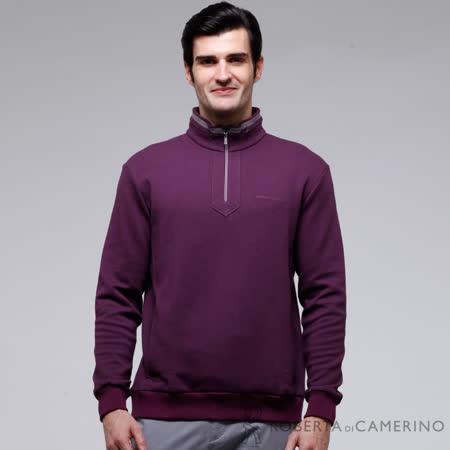 ROBERTA諾貝達 台灣製 吸濕保暖 下襬束口長袖POLO棉衫 深紫