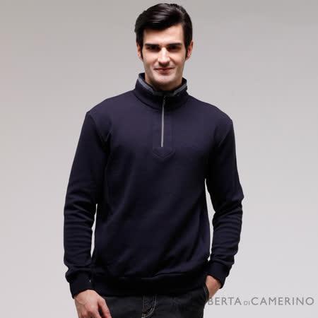 ROBERTA諾貝達 台灣製 吸濕保暖 下襬束口長袖POLO棉衫 深藍