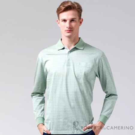 ROBERTA諾貝達 台灣製 純棉 方格品味長袖POLO棉衫 淺綠