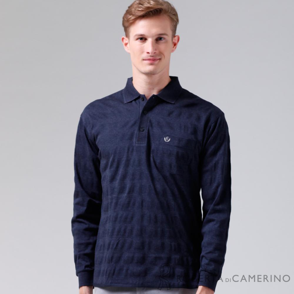 ROBERTA諾貝達 製 呈現 純棉長袖POLO棉衫 深藍