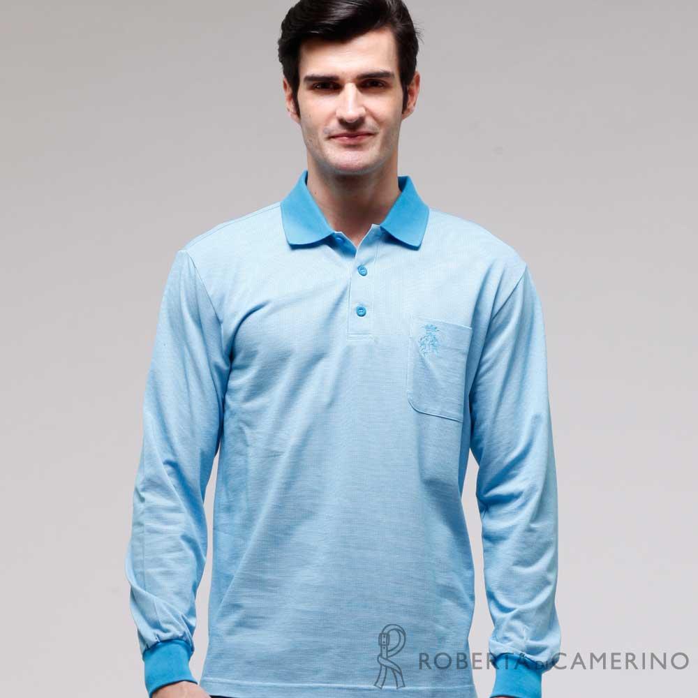 ROBERTA諾貝達 製 修身版 口袋款長袖POLO棉衫 藍色