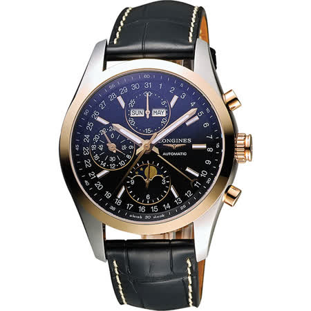 LONGINES Conquest 月相計時機械腕錶-黑x玫瑰金圈/42mm L27985523
