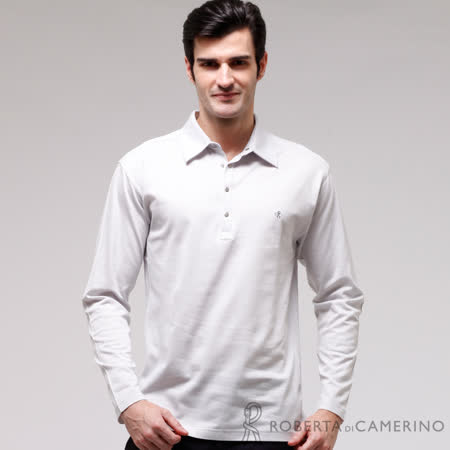 ROBERTA諾貝達 台灣製 純棉 高質感長袖POLO棉衫 灰色