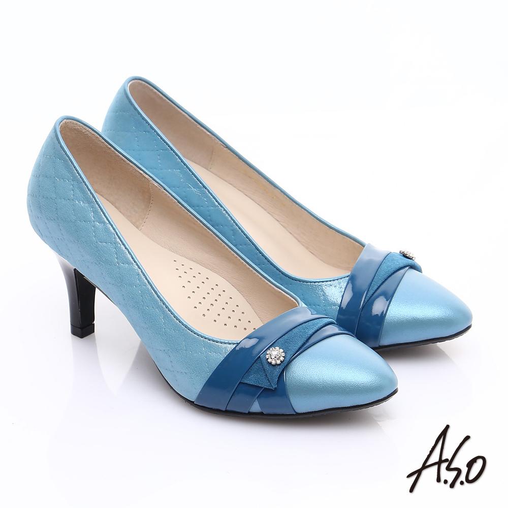 【A.S.O】甜蜜樂章 全真皮菱格壓紋鑽飾高跟鞋(藍)